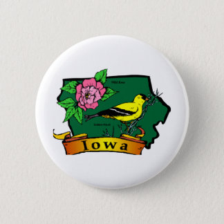 Iowa Map 6 Cm Round Badge