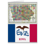 Iowa Map and State Flag Greeting Card