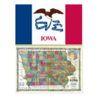 Iowa Map and State Flag Postcard
