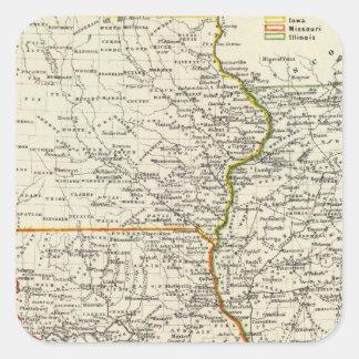 Iowa, Missouri, and Illinois Square Sticker