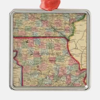 Iowa, Missouri Map by Mitchell Christmas Ornament