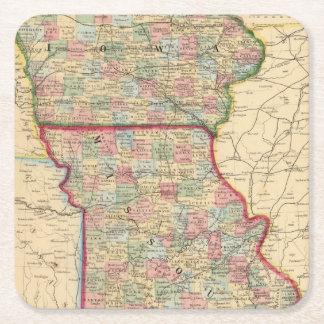 Iowa, Missouri Map by Mitchell Square Paper Coaster