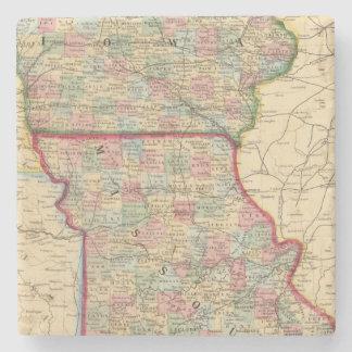 Iowa, Missouri Map by Mitchell Stone Beverage Coaster