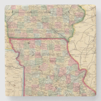 Iowa, Missouri Map by Mitchell Stone Coaster