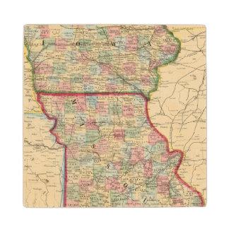 Iowa, Missouri Map by Mitchell Wood Coaster