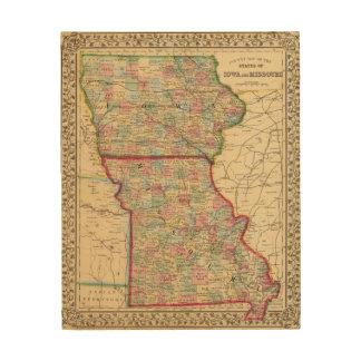 Iowa, Missouri Map by Mitchell Wood Print