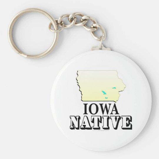 Iowa Native Basic Round Button Key Ring