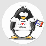 Iowa Penguin Round Sticker