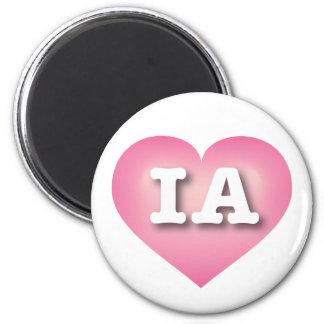 Iowa Pink Fade Heart - Big Love 6 Cm Round Magnet
