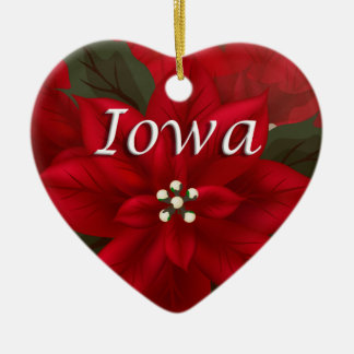 Iowa Red Poinsettia Heart  Keepsake Ornament