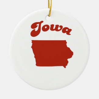 IOWA Red State Double-Sided Ceramic Round Christmas Ornament