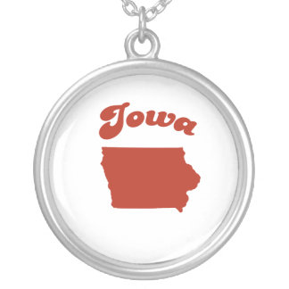 IOWA Red State Round Pendant Necklace