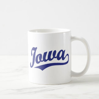 Iowa script logo in blue coffee mug