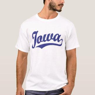 Iowa script logo in blue distressed T-Shirt