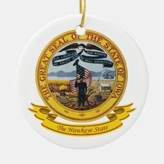 Iowa Seal Round Ceramic Decoration