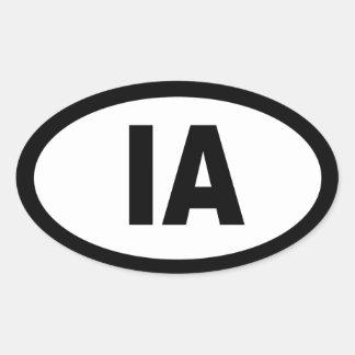 Iowa - sheet of 4 oval car stickers