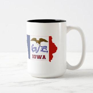 Iowa State Flag and Map Two-Tone Mug