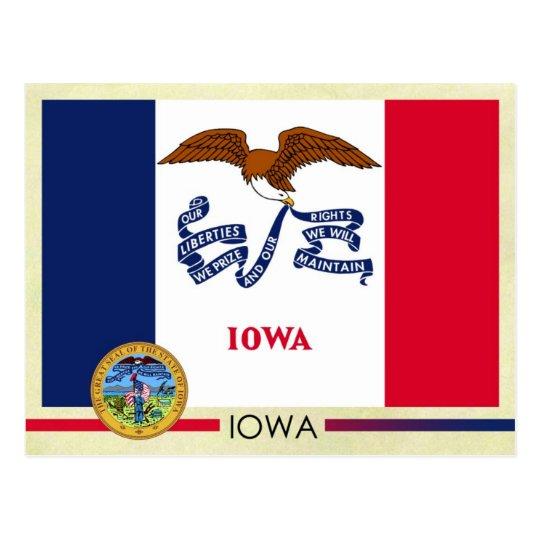 Iowa State Flag and Seal Postcard