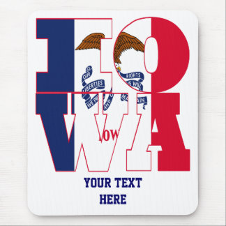 Iowa state flag text mouse mat