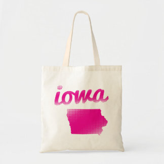 Iowa state in pink tote bag