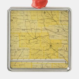 Iowa State Maps Silver-Colored Square Decoration
