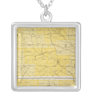 Iowa State Maps Silver Plated Necklace