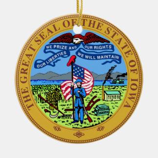 Iowa State Seal Round Ceramic Decoration