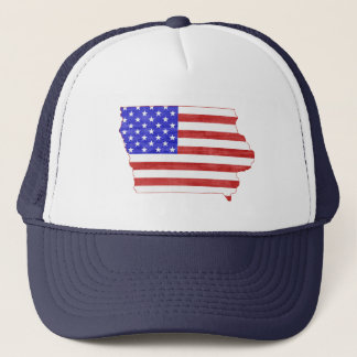 Iowa State Shaped American Flag Trucker Hat