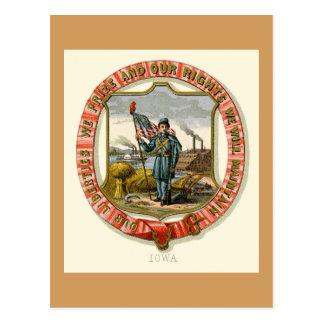 Iowa The State Arms  (1876) Postcard