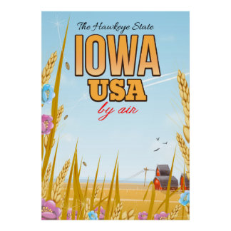 "Iowa USA ""The Hawkeye State""Cartoon travel poster. Poster"