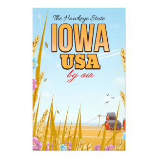 "Iowa USA ""The Hawkeye State""Cartoon travel poster. Stationery"
