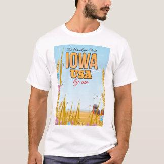 "Iowa USA ""The Hawkeye State""Cartoon travel poster. T-Shirt"