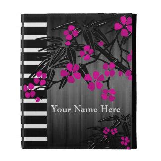 Ipad Case Pink Asian Bamboo Black