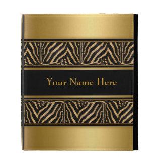 Ipad Case Zebra Gold Black Add name