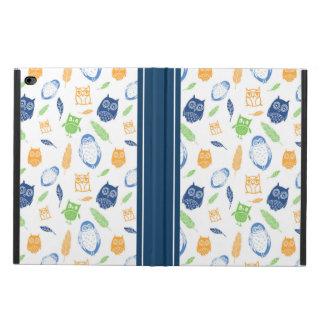 iPad Cover Owls Feathers Navy Blue Orange