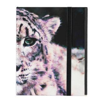 iPad Custom Case Snow Leopard Mixed Media iPad Folio Cover