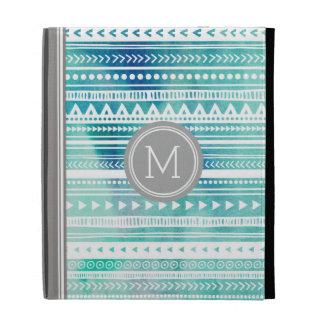 iPad Custom Monogram Blue Watercolor Tribal iPad Folio Cases
