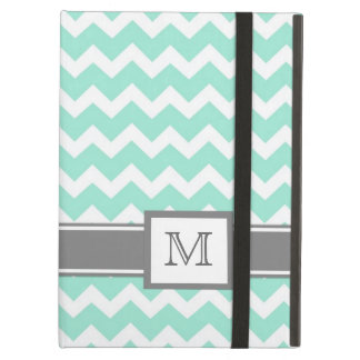 iPad Custom Monogram Grey Aqua Chevrons iPad Air Cover