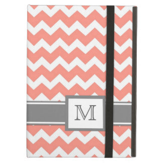 iPad Custom Monogram Grey Coral Chevrons Case For iPad Air