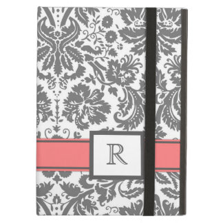 iPad Custom Monogram Grey Coral Floral Damask iPad Air Cover