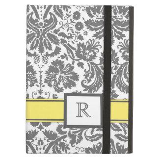 iPad Custom Monogram Grey Lemon Floral Damask iPad Air Cover