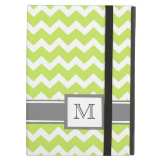 iPad Custom Monogram Grey Lime Chevrons iPad Air Cover