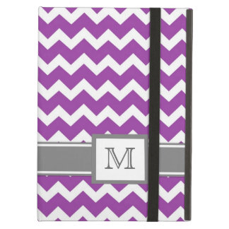 iPad Custom Monogram Grey Purple Chevrons iPad Air Case