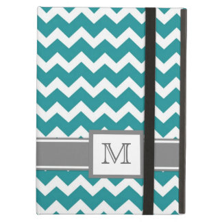 iPad Custom Monogram Grey Teal Chevrons Cover For iPad Air
