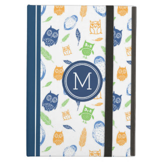 iPad Custom Monogram Owls Navy Blue Orange iPad Air Case