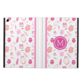 iPad Custom Monogram Owls Pink Feathers Cover For iPad Air