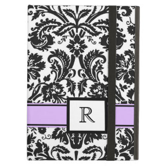 iPad Custom Monogram Purple Black Floral Damask Case For iPad Air