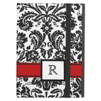 iPad Custom Monogram Red Black Floral Damask iPad Air Case