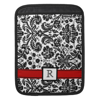 iPad Custom Monogram Red Black Floral Damask iPad Sleeve