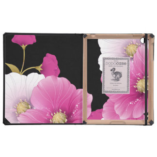 ipad DODOcase Black Pink Flowers Covers For iPad